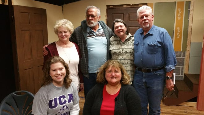 """""""Blithe Spirit"""", the newest presentation by Twin Lakes Playhouse, opens March 3.  Shown are, front row, from left, F.E. Quiles, Karen McKaig. Standing, Deb Smith, Jerome Sexton, Cindy Young and Stacy Tiffin. Not present, Aubriana Chambers."""