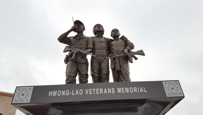 A memorial was erected outside the Marathon County Courthouse in 2016 for Hmong and Lao soldiers who aided the U.S. military in the Vietnam War. Shown here on Jan. 26, 2017.