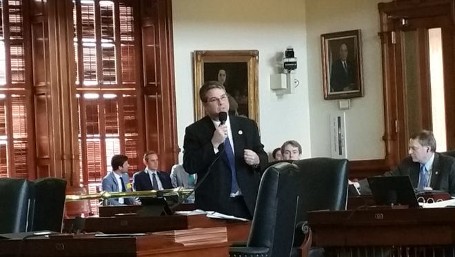 State Sen. Charles Perry, R-Lubbock, speaks during Senate debate last week over a sanctuary cities bill that later passed. A senior House Republican on Tuesday said he's working on different legislation, setting up a possible House-Senate showdown.
