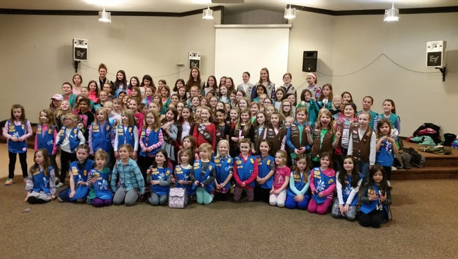 """South Lyon Girl Scouts participated in a Thinking Day Celebration on Feb. 25, at Family Life Community Church in South Lyon. The 130-plus girls and their leaders worked on activities revolving around """"Grow,"""" the recognition of scouting. Scouting officials called the morning event """"a great success."""""""