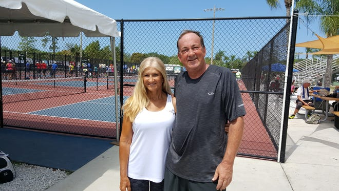 Former high school friends Marsha Wolak, 58, of Pompano Beach, and Kelly Thurman, 59, of Atlanta, reunited after 43 years so they could play mixed doubles at the U.S. Open Pickleball Championships in Naples.