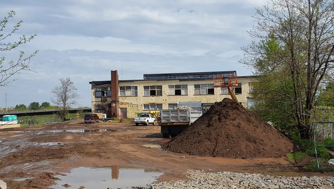 Construction is underway at the former Sav-O Supply building to turn it into the Atrium Lofts, shown here on May 17, 2017.