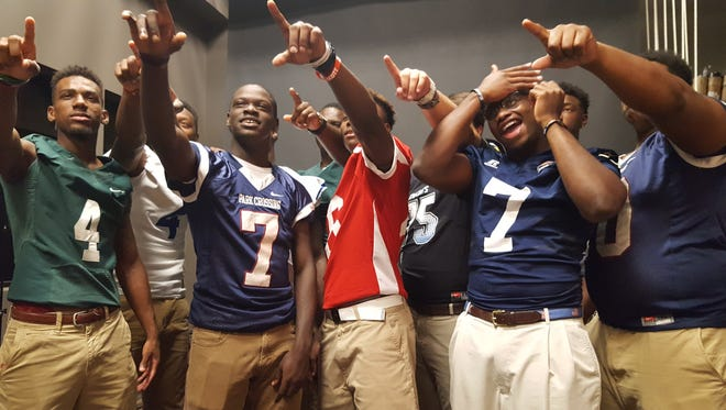 Mailk Cunningham (No. 7), Henry Ruggs (center) and Sterling Jones (No. 7) are scheduled to report to their respective colleges this month. Cunningham is headed to Louisville, Ruggs III is going to Alabama and Jones is headed to Central Florida.