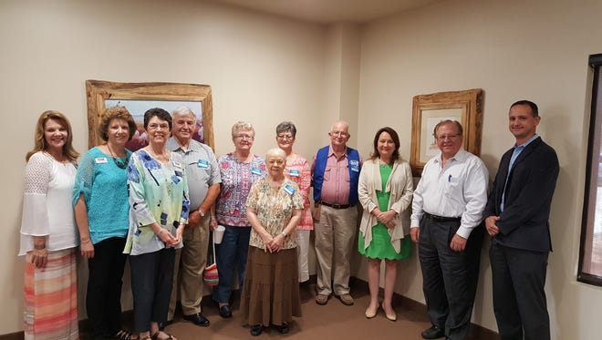 Cecilia Abbott (in green) meets with West Texas RSVP representatives in San Angelo on Thursday, May 25.