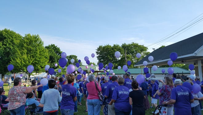 Participants during ceremonies launching a previous year's Relay For Life prepare for a balloon release.