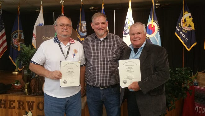 Photo, L to R:  Frank Kaye, Mountain Home (DAV van coordinator), who received a longevity award for 5-10 years of service and 2,311 hours; Michael Dobbs, Chief of Voluntary Services (CAVHS); and Jerry Klaus, Jordan (DAV van driver), who received an award for reaching the 300-hour milestone.