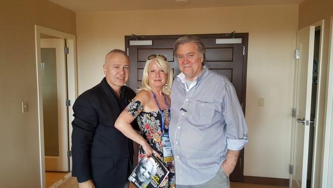 From left, former Palm Springs mayoral candidate Erbil Gunasti, celebrity interviewer Daphne Barak and former White House chief strategist Steve Bannon.