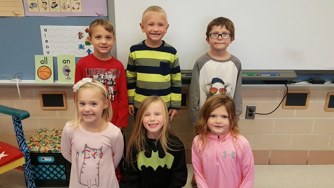 R.C. Waters Elementary's first grade student winners of the Class Dojo honors for October are, from row from left, Audrey Arnold, Mya Smith, and Hadley Bercaw, and back row, from left, Lane Kapp, Jaxson Pratt, and Bryce Herevia.