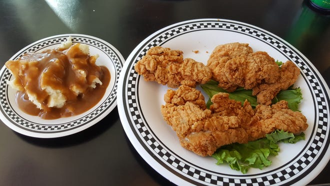 Chicken Strips ($8.70) with mashed potatoes served at Pancake Alley.