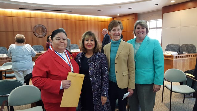 Pictured, from left, are Carmona-Montalvo, NM Secretary of Higher Education; Dr. Barbara Damron, President of NM Independent Community Colleges; Dr. Becky Rowley and Dr. Renay Scott, DACC President and President of the NM Association of Community Colleges.