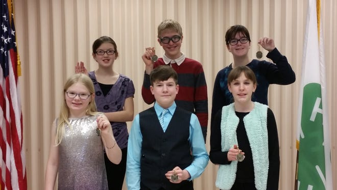 Nineteen youth participated in the 2018 Dodge County 4-H Speaking Contest, held on Feb. 26 in the auditorium of the Dodge County Administration Building, Juneau. Pictured are, front row, from left: Veronica Richards, Colton Dunn and Grace Blackburn; back row: Erin Schmidt, Braden Paplham and Alexandra Bahr.