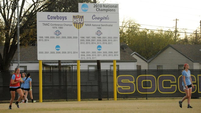 The Hardin-Simmons women's soccer team practices under the 2010 national championship sign Nov. 28, 2017 before leaving for the NCAA Division III Final Four in Greensboro, North Carolina. The No. 3 Cowgirls will face No. 6 Williams at 1:30 p.m. Friday.