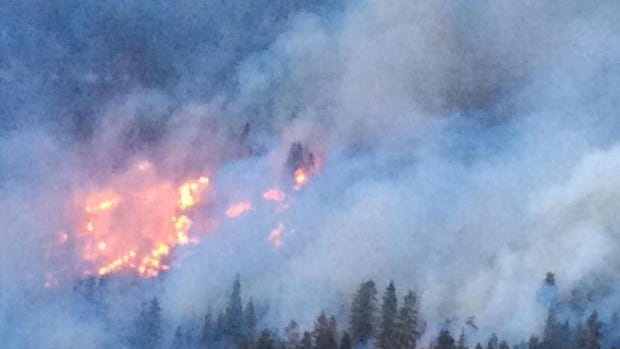 A photo showing smoke and flames from the Ward Fire, which sparked near Plumas National Forest.