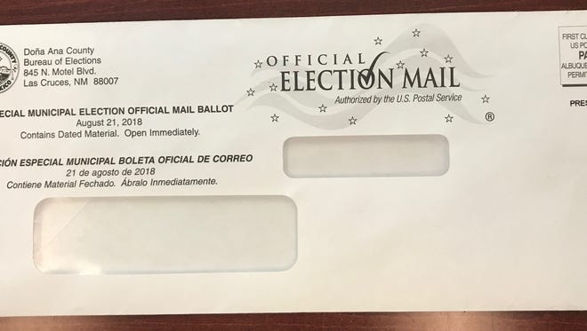 Envelope in which ballots for Las Cruces' first mandated mail election were mailed to voters.
