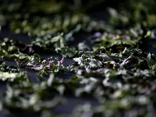 Kale dries out on a drying rack in the kitchen of Sneaky Greens, a local spice blend company that marries things like salt, peppercorns and Italian seasoning with preserved mustard greens and kale.