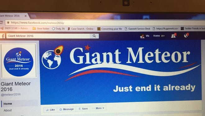 Hoosier voters are free to write-in Giant Meteor as their choice for president, but the vote won't be counted.