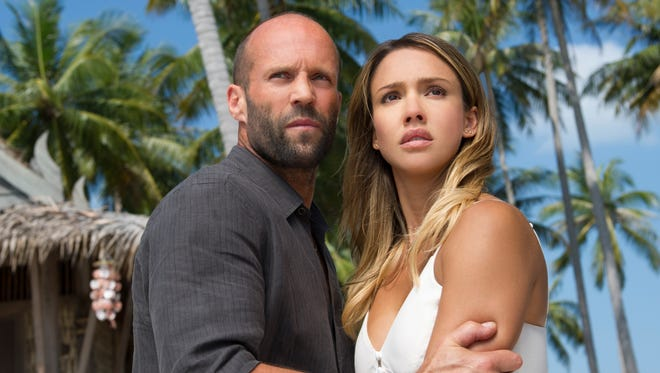 "Arthur Bishop (Jason Statham) and Gina (Jessica Alba) in Mechanic: Resurrection."""