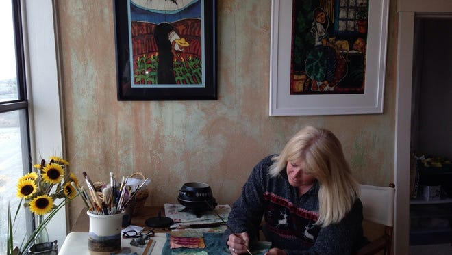 Download the 2016 Lincoln CountyArt Loop map by visiting, artloop.org/2016-map.html or pick up a brochure at most restaurants, the Ruidoso Valley Chamber of Commerce, a few selected hotels and at the Ruidoso Library on the racks inside the doors Denise Dorn shows the art of Batik at Showing at 109 Nob Hill Drive, Adobe Suites #13, Ruidoso.