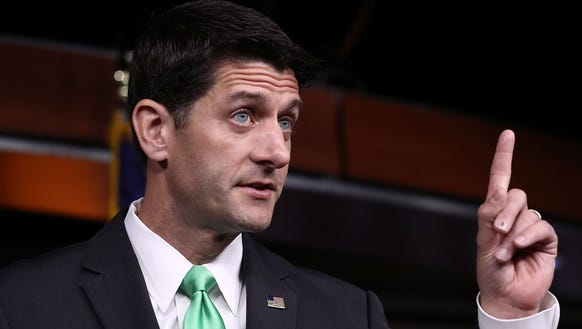 Speaker Paul Ryan, R-Wis., answers questions during