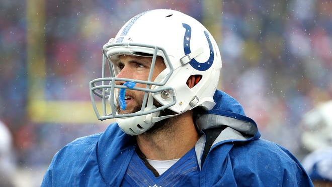 Andrew Luck looks toward the scoreboard late in the fourth quarter of their game Sept. 13, 2015 at Ralph Wilson Stadium in Orchard Park NY.