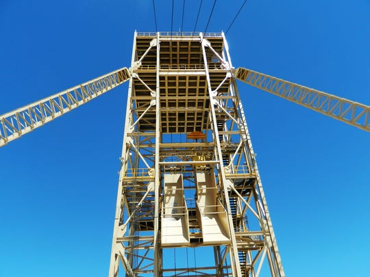The headframe rises above the production shaft at the Nevada Copper Pumpkin Hollow project site.