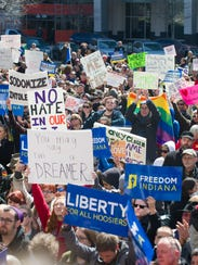 Thousands of opponents of Indiana Senate Bill 101,