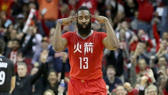 Feb 23, 2015; Houston, TX, USA; Houston Rockets guard James Harden (13) and fans celebrate Harden's three point shot against the Minnesota Timberwolves  in the second half at Toyota Center. Rockets won 113 to 102. Mandatory Credit: Thomas B. Shea-USA TODAY Sports