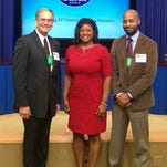 Louisville Metro Police Chief Steve Conrad at White House with Yvette Gentry and Rashaad Abdur-Rahman from the mayor's office.
