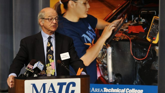 Tom Hurvis, chairman of Old World Industries LLC and co-founder of the Al Hurvis/ADAMM Education Foundation, announces a $3 million challenge grant to expand MATC automotive training programs.