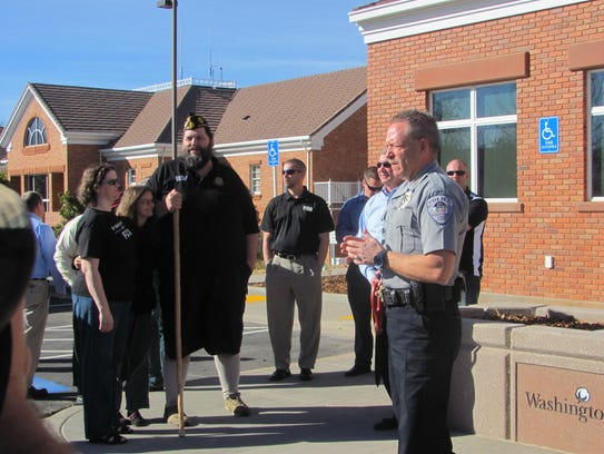 Washington City Police Chief Jim Keith addresses well-wishers