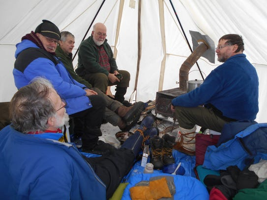 Winter campers, clockwise from upper right: Chuck Rose,