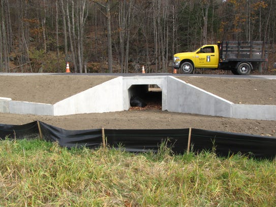A recently completed, amphibian-friendly culvert in