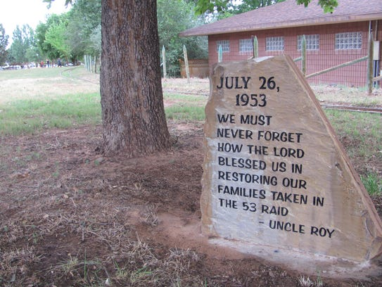 Monument to the short creek raid of 1953 which disappeared