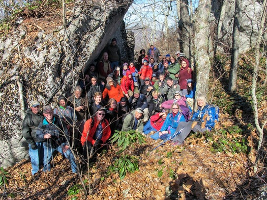 The Bee Tree hike in 2014 attracted a large and happy