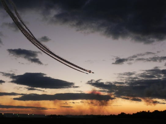 A twilight performance during the Stuart Air Show.