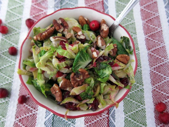 Brussels sprouts, pecans, maple syrup and cranberries