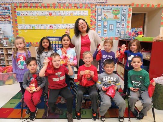 Cynthia Yu and Kindergarten Class celebrating Chinese