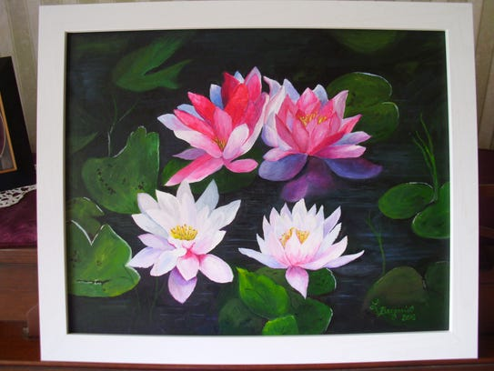 """""""Lilies on the Lake"""" by Lori Berquist is on display"""