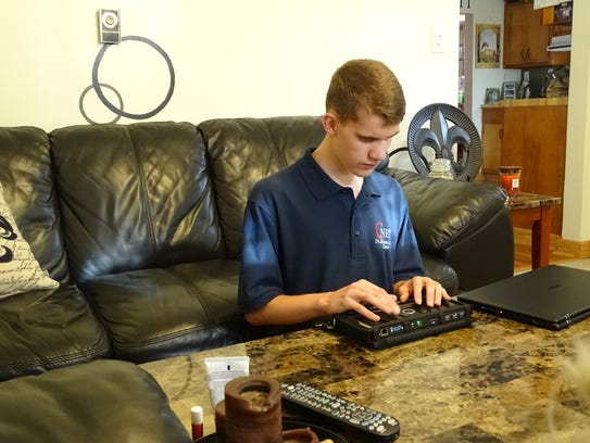 Brock Ewing, who is blind, wants to work in technology,