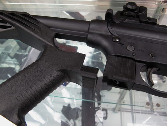 This bump stock for a .22-caliber rifle helps it fire
