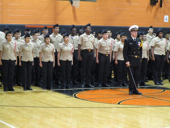 Linden High School's NJROTC cadets in formation at