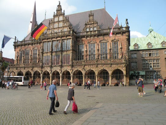 The town hall in Bremen, Germany, in the historic market