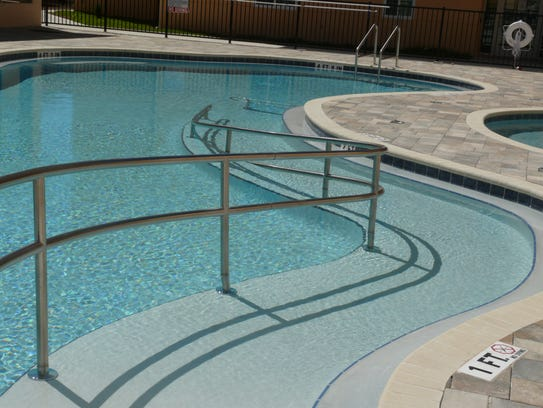 Accessible pool and spa at Promise in Brevard.