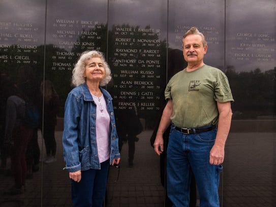 Mary Geisler and George Da Ponte visit the New Jersey Vietnam Veterans Memorial in honor of their brother Anthony Da Ponte, who was killed in action in 1968.