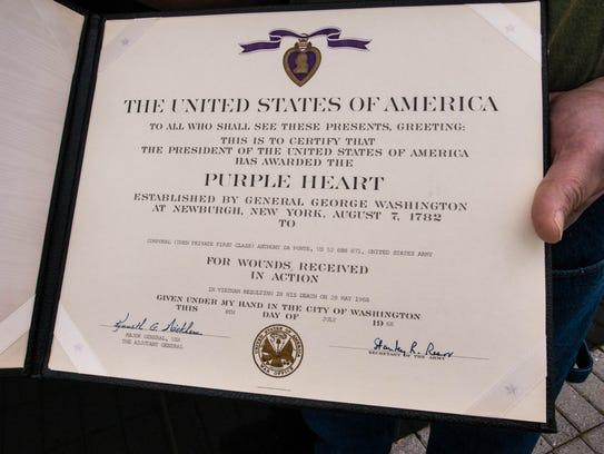 Anthony Da Ponte's Purple Heart citation.