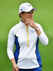 Catriona Matthew, pictured Tuesday at Des Moines Golf and Country Club, will be making her ninth Solheim Cup appearance when she replaces the injured Suzann Pettersen this week.