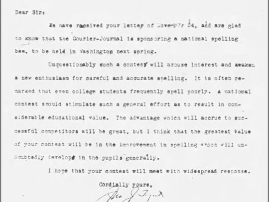 A letter from John J. Tigert, commissioner of the Bureau