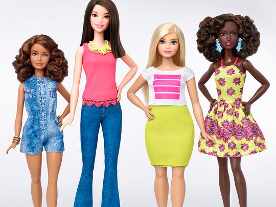 Meet the Barbies, left to right: Petite, Tall, Curvy and Original.
