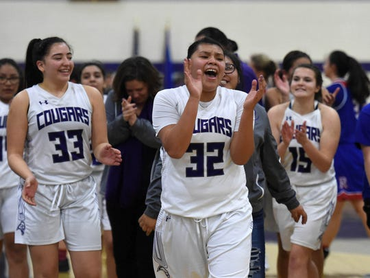 Spanish Springs girls celebrate a win against Reno Tuesday game at Spanish Springs.