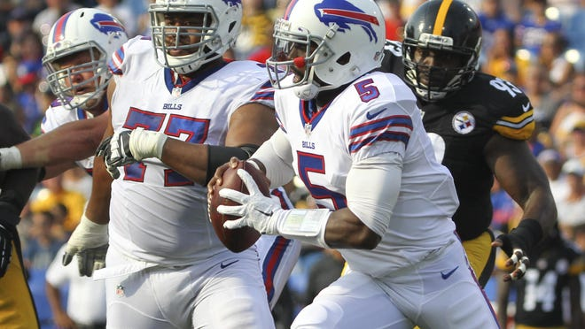 Bills quarterback Tyrod Taylor has just thrown four interceptions this season and has a QB rating of 104.3